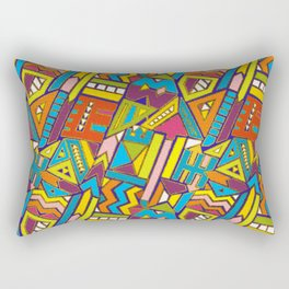 Colorful Geometric African Tribal Pattern Rectangular Pillow
