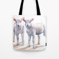 silence of the lambs Tote Bags featuring Lambs by LouiseDemasi