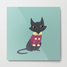 Cozy cat red Metal Print