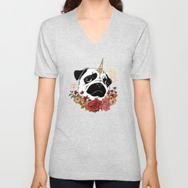 Sparkly Flowers Puggicorn Unisex V-Neck