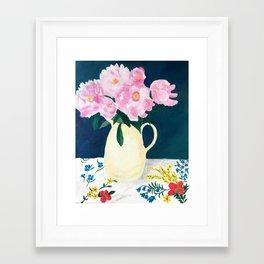 Peonies at Spring's End Framed Art Print
