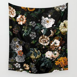 Floral Night Garden Wall Tapestry