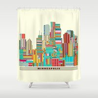 minneapolis Shower Curtains featuring Minneapolis city  by bri.buckley