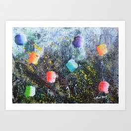 ICE CREAM, CITY LIGHTS AND HOT SUMMER NIGHTS - abstract expressionism original prophetic painting Art Print