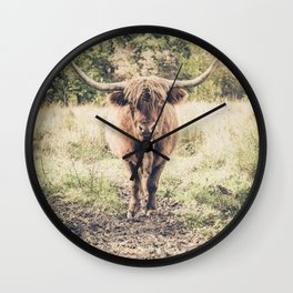 Highland scottish cow cattle long horn Wall Clock