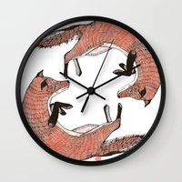 foxes Wall Clocks featuring Foxes by nicolaporter