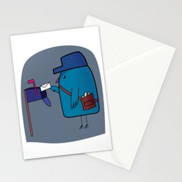 Cute Postman Bird Mail Carrier Stationery Cards