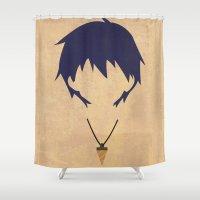 gurren lagann Shower Curtains featuring Minimalist Simon by 5eth