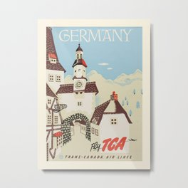 Vintage travel poster-Trans-Canada Air lines-Germany. Metal Print