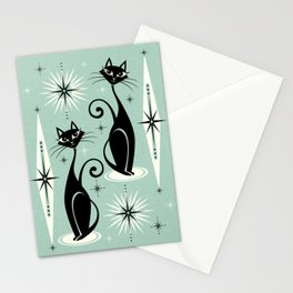 Mid Century Meow Retro Atomic Cats Mint Stationery Cards