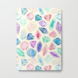 Watercolor Gems Intense Metal Print