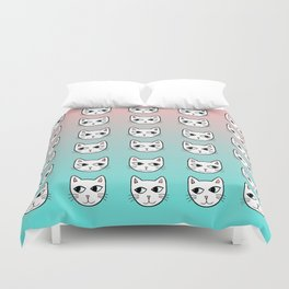 Whimsical White Cats Mint Pink Pattern Duvet Cover