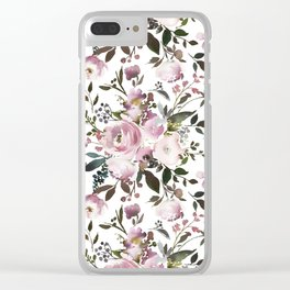 Blush rose pink green watercolor elegant floral Clear iPhone Case