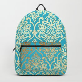 Teal Gold Mermaid Damask Pattern Backpack