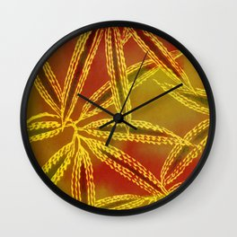 Red Yellow Abstract Leaf Wall Clock