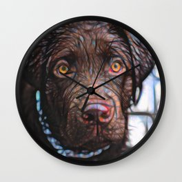 Young Chocolate Labrador Wall Clock