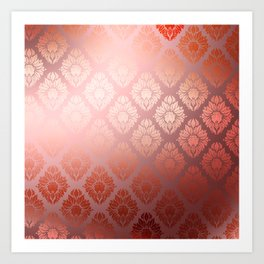 """Millennial Pink Damask Pattern"" Art Print"