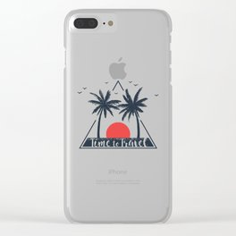 Time To Travel. Sunset. Palms. Geometric Style Clear iPhone Case