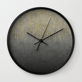 Dark Glamour golden faux glitter Wall Clock