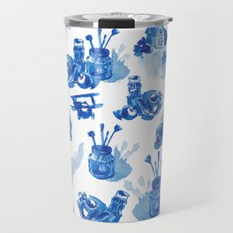 Summer history of watercolor in blue tones Travel Mug