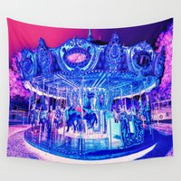 carousel Wall Tapestries featuring Carousel Merry-G0-Round Pink Purple by WhimsyRomance&Fun