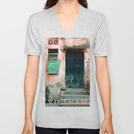 ANTIQUE CHINESE WALL of HOI AN in VIETNAM Unisex V-Neck