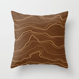 Tree rings or rock layers or sea waves brown Throw Pillow