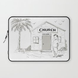Samoan Boy Stand By Church Cartoon Laptop Sleeve