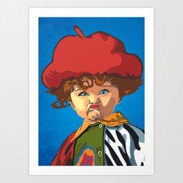 Scrunchy Face Kid Art Print