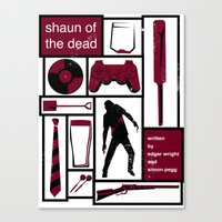 shaun of the dead Canvas Prints featuring Shaun of the Dead by Stephanie Vanelli