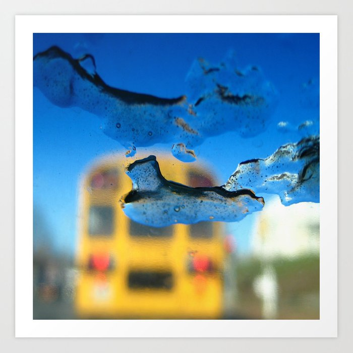 yellow bus and ice photography Art Print