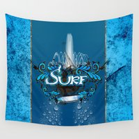 surfing Wall Tapestries featuring Surfing by nicky2342