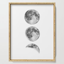 Full Moon cycle black-white photography print new lunar eclipse poster bedroom home wall decor Serving Tray