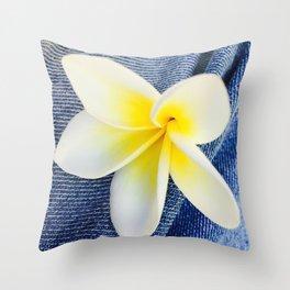 Denim Frangipani Natural Light Throw Pillow