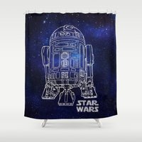 r2d2 Shower Curtains featuring r 2 d 2 by Vickn