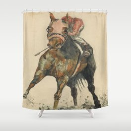 Racehorse Watercolor Shower Curtain