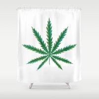 cannabis Shower Curtains featuring Marijuana. Cannabis leaf  by artskvortsova