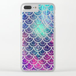 Mermaid Scales Pink Turquoise Blue Clear iPhone Case