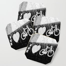xxx Heart Bike Under The Rain Photography Black and White Amsterdam Europe Coaster