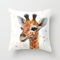 baby Throw Pillows featuring Giraffe Baby by Olechka