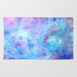 Bright Tarantula Nebula Aqua Lavender Periwinkle Rug