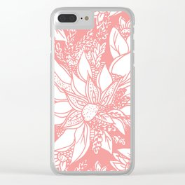 Modern coral white hand drawn floral illustration Clear iPhone Case