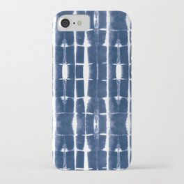 Shibori Stripes 3 Indigo Blue iPhone Case