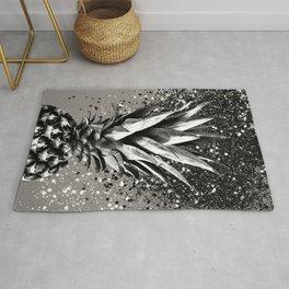 Pineapple Silver Gray Glitter Glam #1 #tropical #fruit #decor #art #society6 Rug