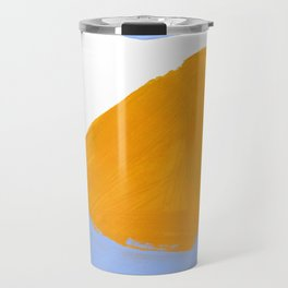 Minimalist Abstract Colorful Shapes Yellow Pastel Blue Mid Century Art Travel Mug