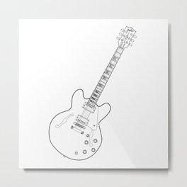 Semi Acoustic Line Drawing Metal Print