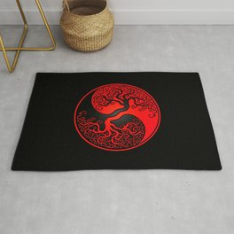 Red and Black Tree of Life Yin Yang Rug