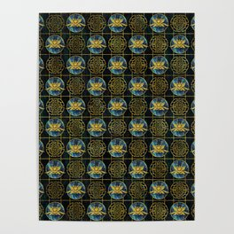 Luxury Chinese Golden Lotus on Abalone Poster