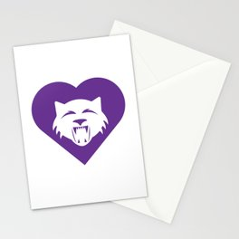 Wildcat Mascot Cares Purple Stationery Cards