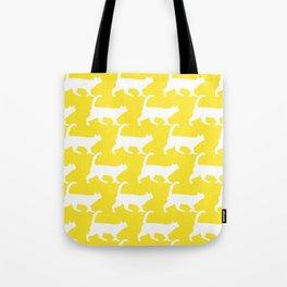 Minimal Cat Pattern Yellow Modern Tote Bag